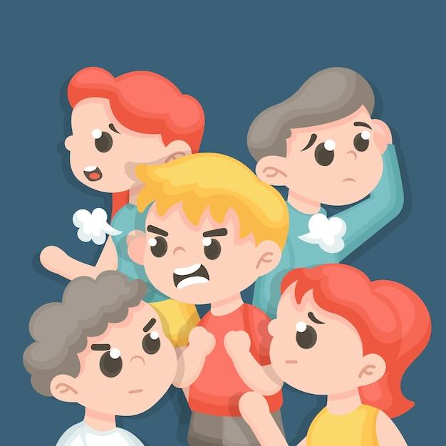 Gniewna Osoba W Tłum Ilustraci Darmowych Wektorów