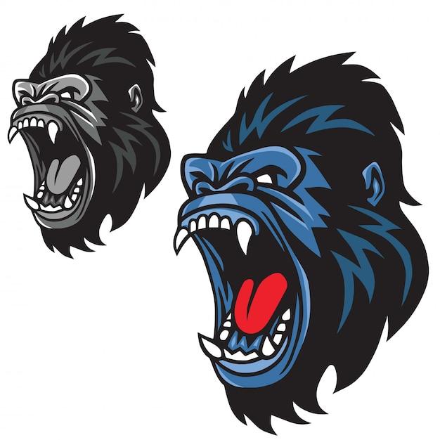 Gniewny goryl maskotki kreskówki loga setu wektor Premium Wektorów