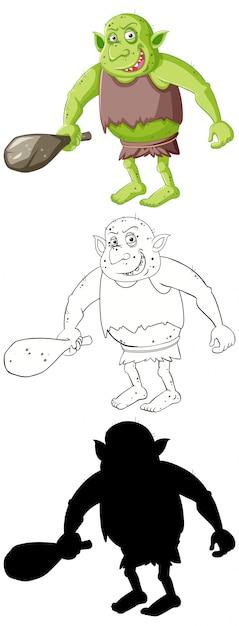 Goblin Lub Troll W Kolorze, Zarysie I Sylwetce W Postaci Z Kreskówek Darmowych Wektorów