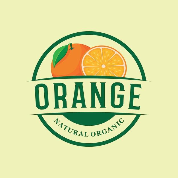 Godło logo farmy pomarańczowej Premium Wektorów