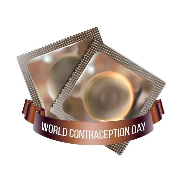 Godło światowego Dnia Antykoncepcji, Ilustracja Dwóch Prezerwatyw Ze Wstążką Na Białym Tle. 26 Września światowa Etykieta Wydarzenia świątecznego Opieki Zdrowotnej, Element Graficzny Dekoracji Karty Z Pozdrowieniami Premium Wektorów