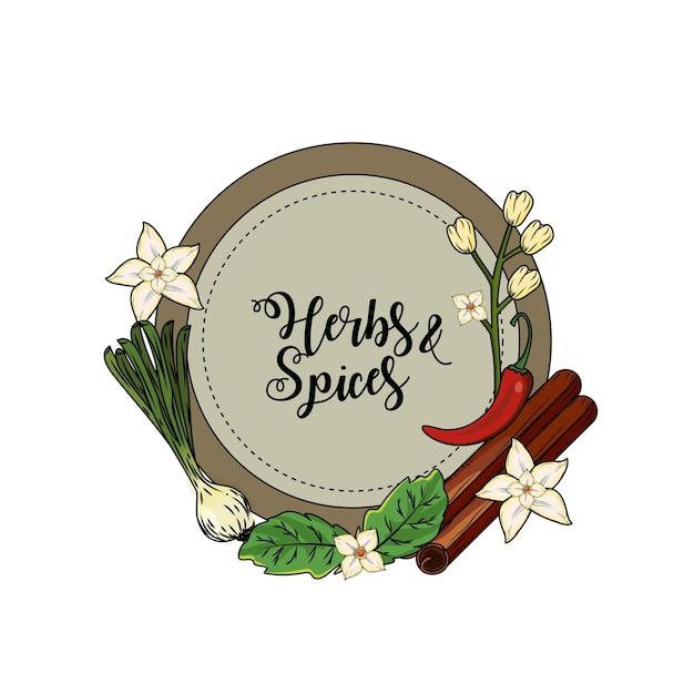 Godło Zioła I Przyprawy Rośliny I Jedzenie Narządów Premium Wektorów