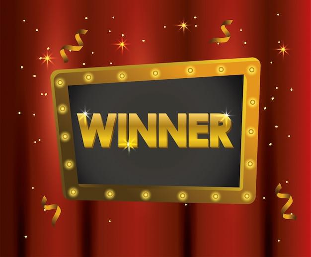 Godło zwycięzcy z konfetti do świętowania mistrza Premium Wektorów