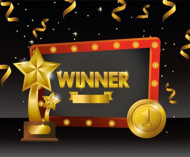 Godło zwycięzcy z nagrodami w postaci gwiazdek i monet Premium Wektorów