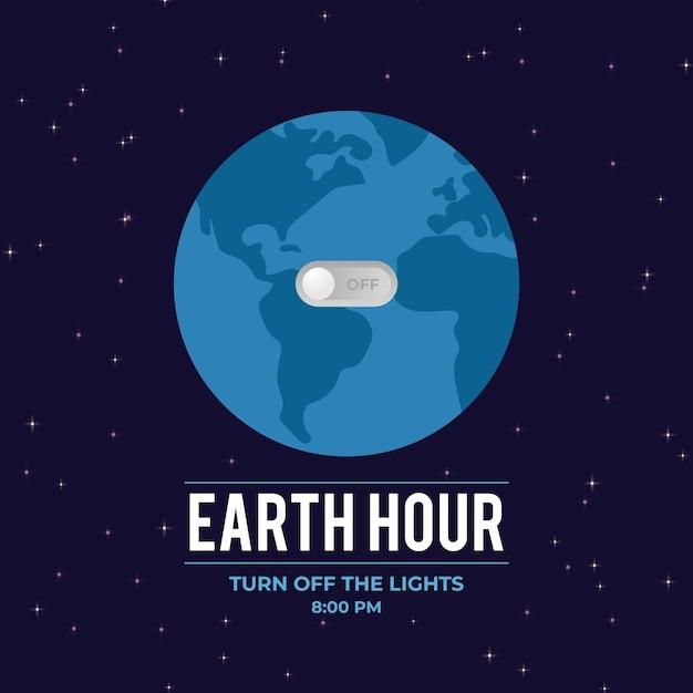 Godzina Ziemi Ilustracja Z Planetą I Przełącznikiem Darmowych Wektorów