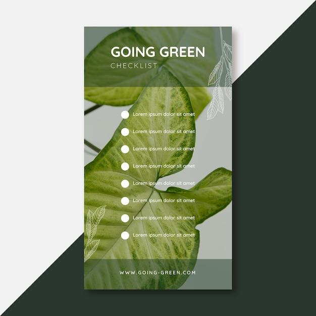 Going Green Checklist Historia Na Instagramie Darmowych Wektorów