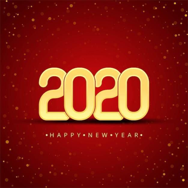 Gold 2020 Szczęśliwego Nowego Roku Darmowych Wektorów