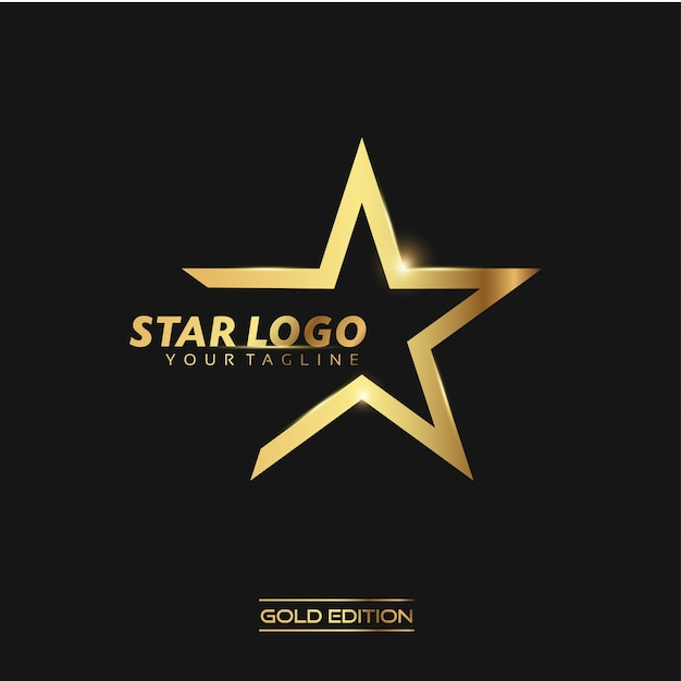 Gold Star Logo Vector Illustration Template Premium Wektorów