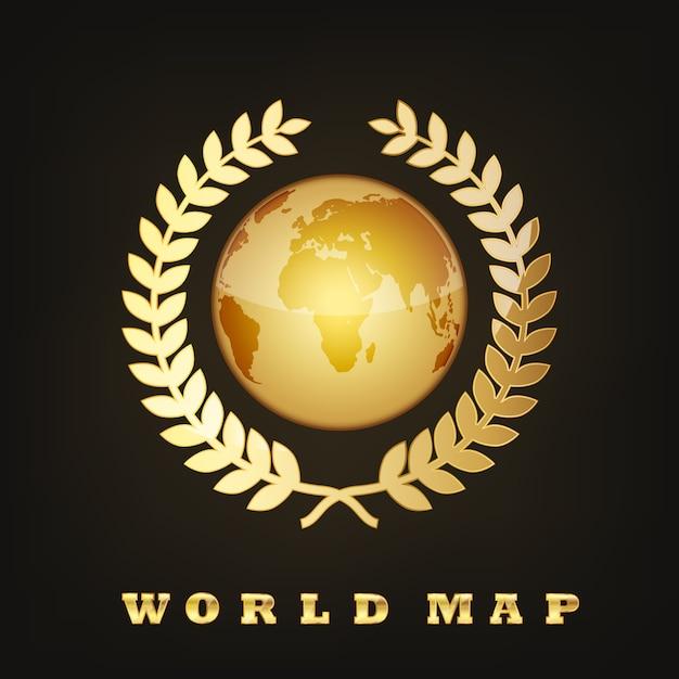 Golden Globe Earth. Ilustracja Premium Wektorów