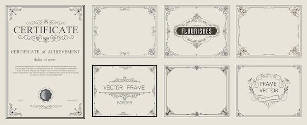 Golden Vintage Vector Zestaw Kwiatów Elementów Premium Wektorów
