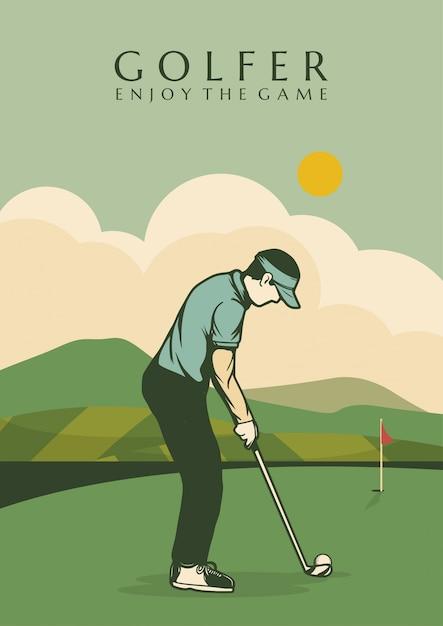Golfisty Plakatowego Projekta Ilustracyjny Mężczyzna W śródpolnym Roczniku Retro Premium Wektorów