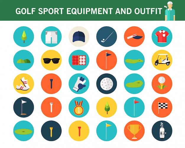 Golfowe sporta wyposażenia ans stroju pojęcia mieszkania ikony. Premium Wektorów