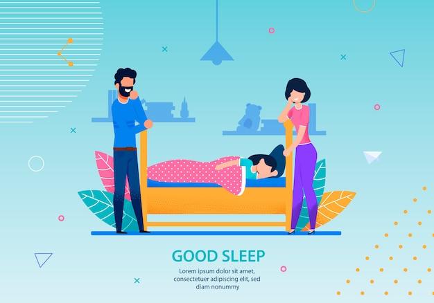 Good Sleep Banner Happy Family Conceptual Template Premium Wektorów