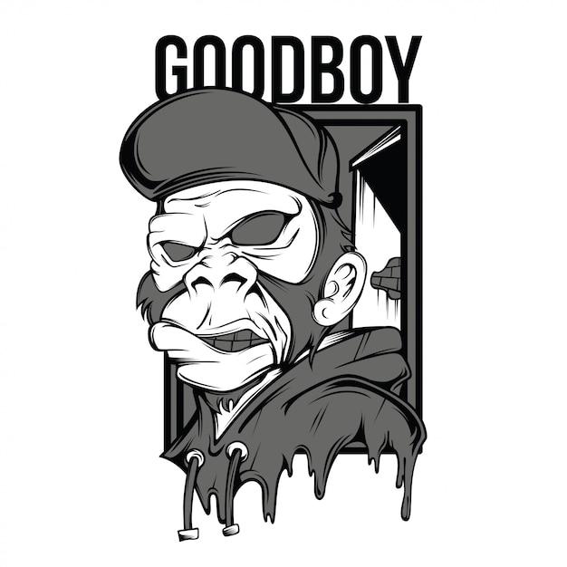 Goodboy czarno-biały ilustracja Premium Wektorów