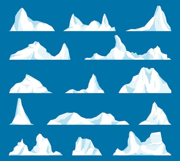 Góra Lodowa Lub Dryfujący Lodowiec Arktyczny. Zamarznięta Góra I Lodowaty, Zamarznięty Płyn I Motyw Północy. Premium Wektorów