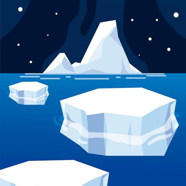Góra Lodowa Stopiony Lód Zima Morze Noc Biegun Północny Premium Wektorów
