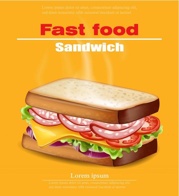 Gorąca Kanapka Realistyczne Fast Food Makiety Premium Wektorów