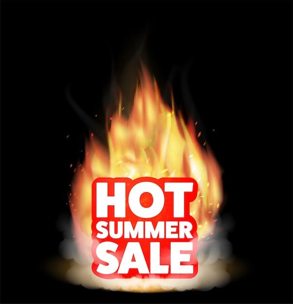 Gorąca Letnia Wyprzedaż Z Prawdziwym Palącym Się Ogniem Premium Wektorów