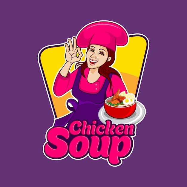 Gorąca Zupa Z Kurczaka Premium Wektorów