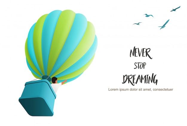 Gorące Powietrze Ballon Na Niebie Z Chłopiec W Koszu Kieruje W Górę Podążać Ptaków, Ilustracja Dla Motywować Lądowanie Strony Szablon Premium Wektorów