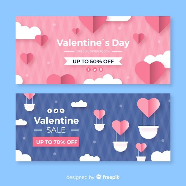 Gorące powietrze balon valentine sprzedaż transparent Darmowych Wektorów