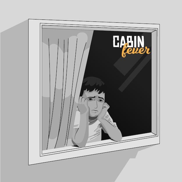 Gorączka Kabinowa Z Osobą Patrząc Przez Okno Darmowych Wektorów