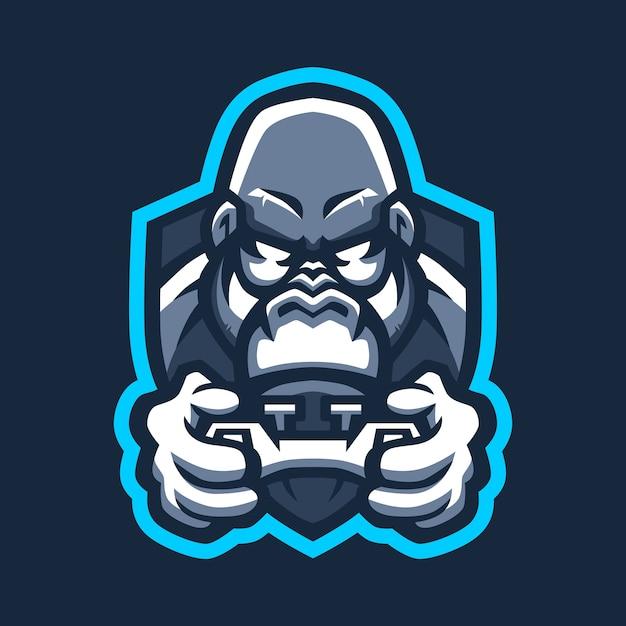 Gorilla Games E Sport Joystick Logo Ikona Ilustracja Premium Wektorów