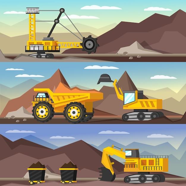 Górnictwo Ilustracje Ortogonalne Zestaw Darmowych Wektorów