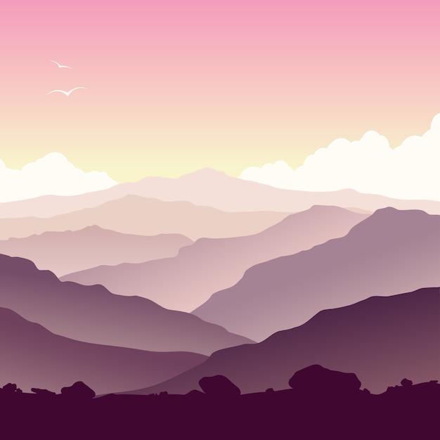 Górski krajobraz z trawą i ogromnym jeziorem Premium Wektorów