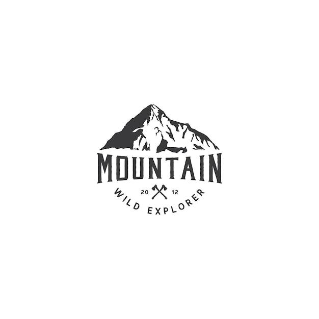 Górskie logo na przygodę i projektowanie logo na świeżym powietrzu Premium Wektorów