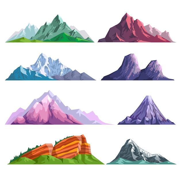 Górskie skały lub alpejskie góry wzgórza natura płaski zestaw ikon na białym tle Premium Wektorów