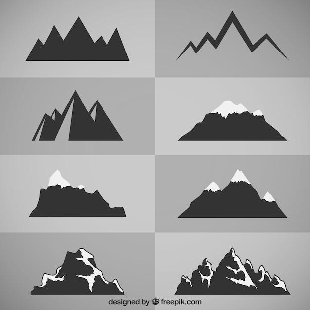Górskie sylwetki Darmowych Wektorów