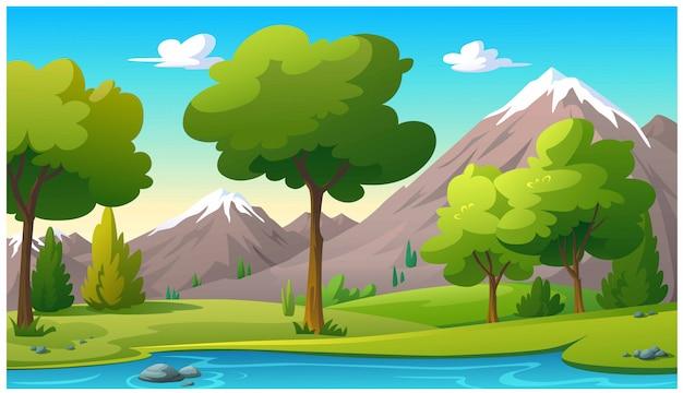 Góry I Jasne Niebo Rano. Premium Wektorów