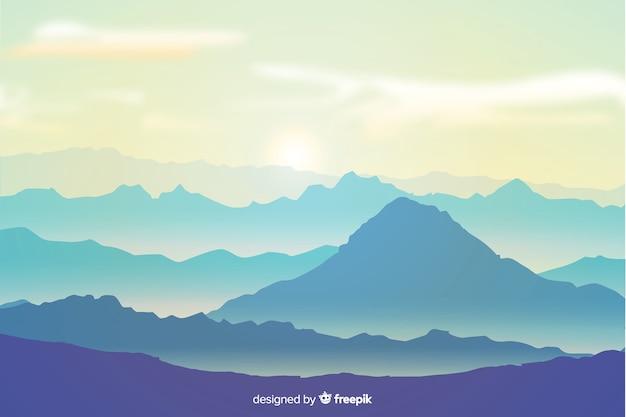 Góry Krajobrazowy Tło W Płaskim Projekcie Darmowych Wektorów