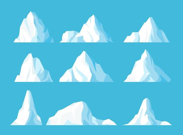 Góry Lodowe W Płaskim Zestawie Oceanu Lodowate Zamarznięte Góry Szczyt Unoszący Się W Wodzie Lód Arktyczny śnieżne Skały Premium Wektorów