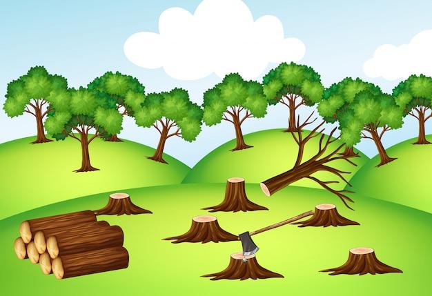 Góry Z Posiekanymi Drzewami Darmowych Wektorów