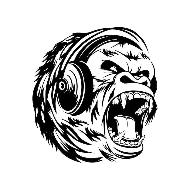Goryl Słucha Muzyki Przez Słuchawki Premium Wektorów