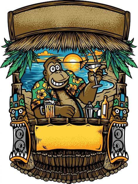 Goryl W Barze Na Plaży Premium Wektorów