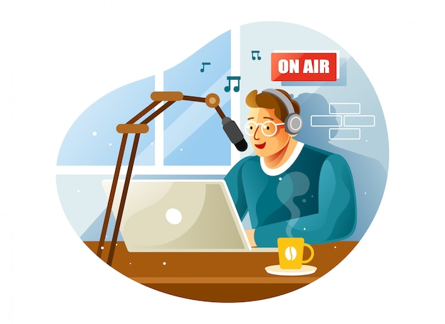 Gospodarz Radiowy W Studio Mówiący Do Mikrofonu Premium Wektorów