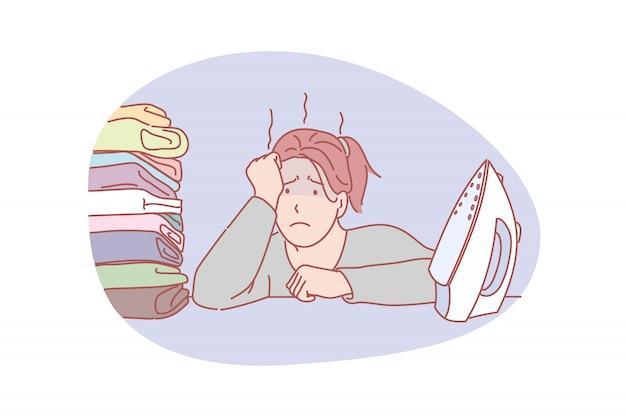 Gospodyni Domowa, Obciążenie Pracą, Prasowanie Ilustracji Premium Wektorów