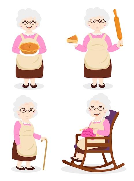 Gotowanie Babci, Babcia W Sukience I Okularach Premium Wektorów
