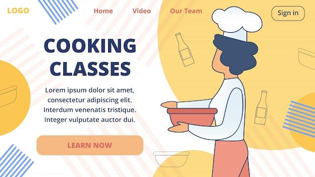 Gotowanie klas online szablon strony internetowej wektor Premium Wektorów