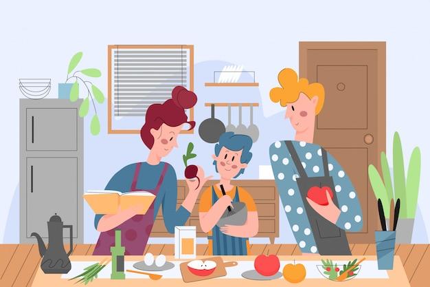 Gotowanie Rodzinne, Ludzie W Kuchni Illustrationfamily Cooking Premium Wektorów