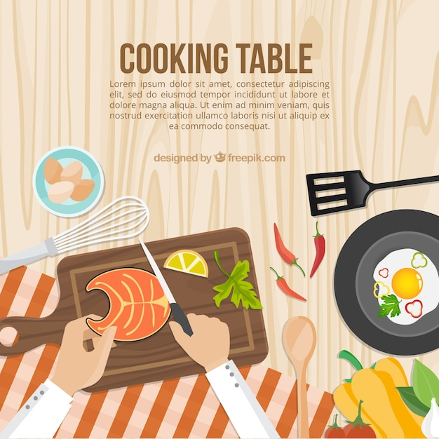 Gotowanie stół szablon Darmowych Wektorów
