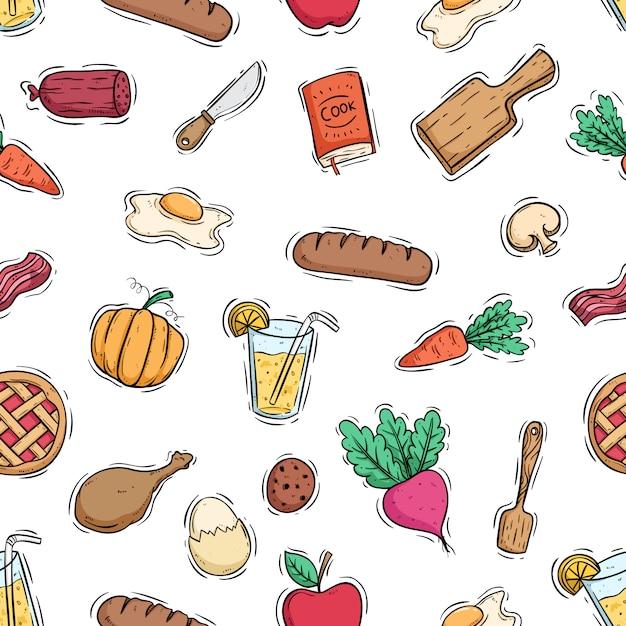 Gotowanie Ze Zdrową żywnością Bez Szwu Wzór Za Pomocą Kolorowego Stylu Doodle Premium Wektorów