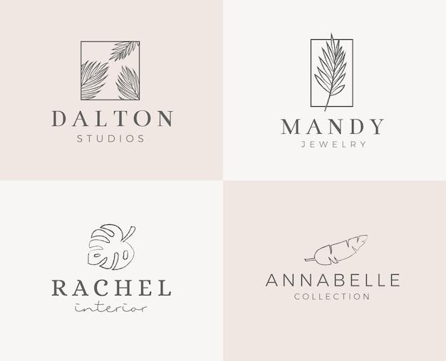 Gotowe Logo Z Minimalistycznym Wiankiem Kwiatowym. Kobiecy Szablon Logo W Eleganckim Stylu Artystycznym Premium Wektorów