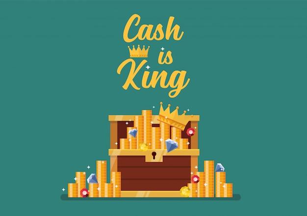 Gotówka Jest Królem Typografii Z Otwartą Skrzynią Pełną Skarbów Premium Wektorów