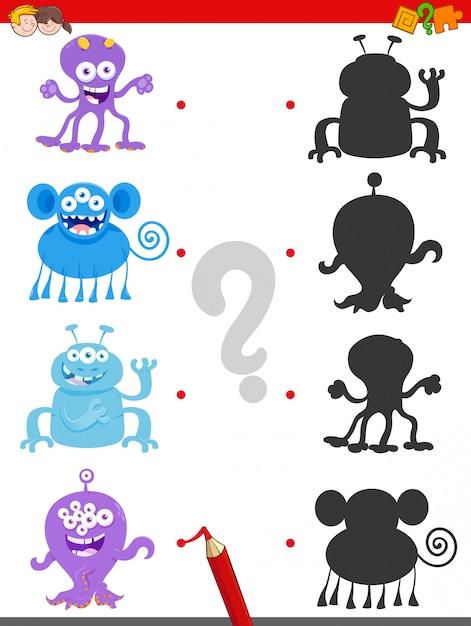 Gra cieni ze szczęśliwymi postaciami potworów Premium Wektorów