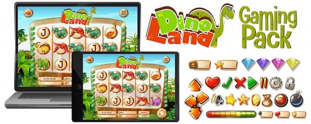 Gra Dinozaurów Na Ekranie Laptopa Darmowych Wektorów