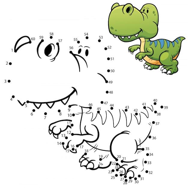 Gra Dla Dzieci Kropka-kropka Dinozaur Premium Wektorów